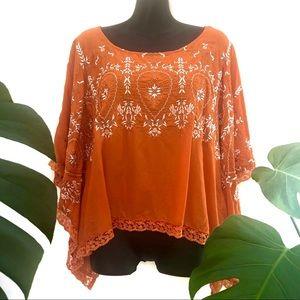Ishka Women's Orange Boho Viscose Top with Embroidery & lace trim Batwing XL
